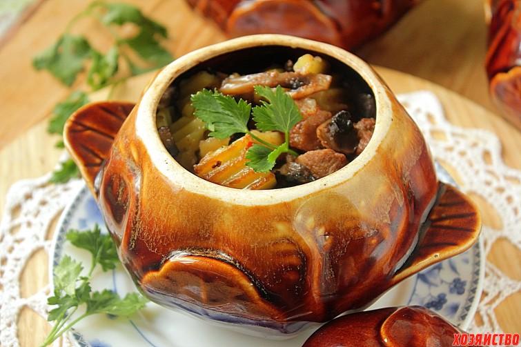 Рецепт жаркого в горшочках с грибами фото