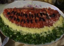 """Яркий салат """"Арбузная долька"""""""