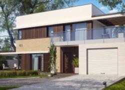 Современный элегантный дом с гостиной с фронтальной стороны
