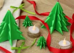 Как сделать объемные елочки из бумаги к Новому году