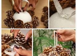 Делаем украшение для елки из шишек к Новому году