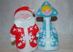 Дед Мороз и Снегурочка из фетра