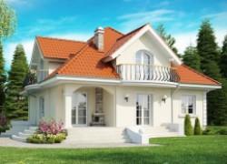 Элегантный классический дом с изящными мансардными окнами и балконами