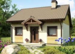 Маленький одноэтажный дом с крытой террасой