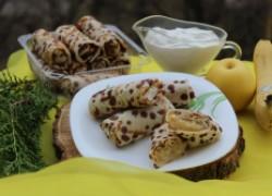 Блинчики «веснушки» с бананово-яблочной начинкой