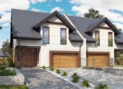 Дома-близнецы элегантного дизайна со встроенным гаражом