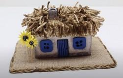 Домик-светильник из джута и картона