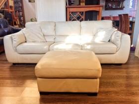 Natuzzi Италия Кожаный диван и пуфик