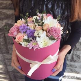 Цветы в коробке розы Волгоград 101 роза