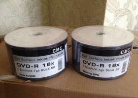 Продам DVD-R диски с поверхностью для печати, 100шт