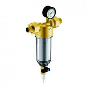 """Магистральный сетчатый промывной фильтр Гейзер Бастион с манометром для холодной воды 1/2"""", d53"""