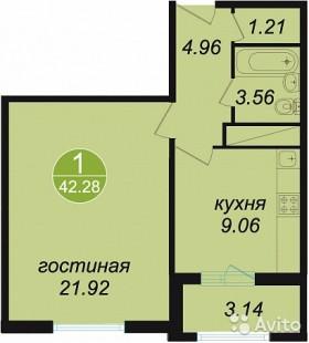 1-к квартира, 42 м², 9/20 эт.
