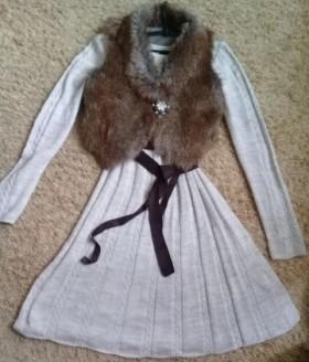 Вязанное платье+меховая жилетка