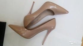 Туфли, натуральная лаковая кожа, цвет пудры, р.37