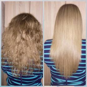 Kератиновое выпрямление волос.