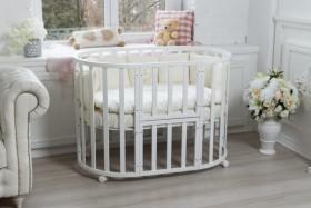 Круглая кроватка трансформер 8в1 белая