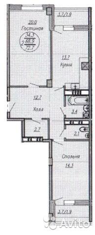 2-к квартира, 73 м², 6/16 эт.