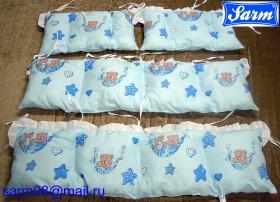 Бортики  для детской кроватки, наполнитель fiberball холофайбер