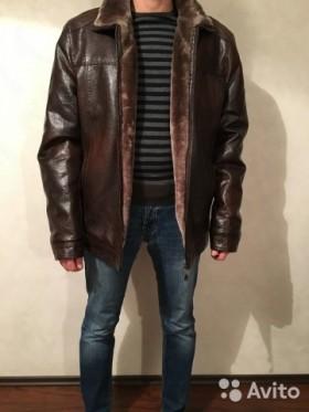 Зимняя теплая кожаная куртка подкладка флис