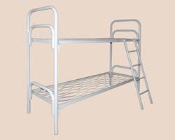 Металлические одноярусные двуспальные кровати, разборные конструкции сеток и спинок