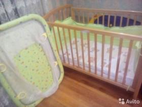Детская кроватка с матрасом балдахином+манеж