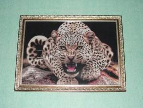 Вышивка. Картина Леопард.