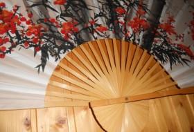 Большое панно-веер Цветущая сакура 160см х 90см